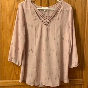 Maurices Pink & Gray Blouse 3/4 Sleeve